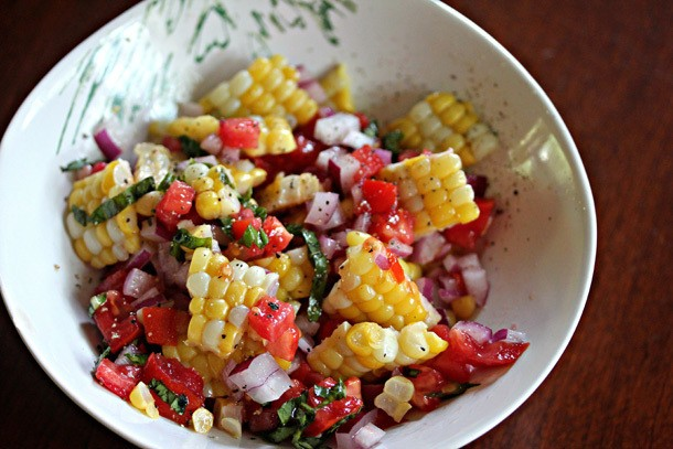 Unique Grilling: Grilled Corn Salad with Tomatoes, Basil and Crispin Cider Vinaigrette
