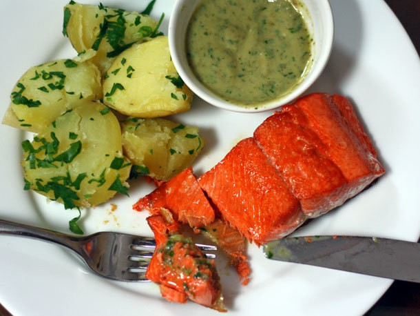 Sautéed Salmon With Potatoes and Creamy Anchovy Sauce Recipe