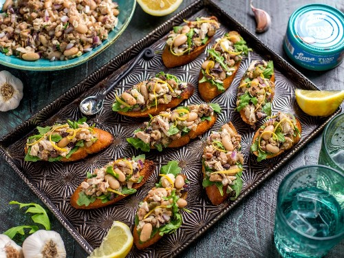Bright and Citrusy Mediterranean-Style Bruschetta With White Beans and Plant-Based TUNO