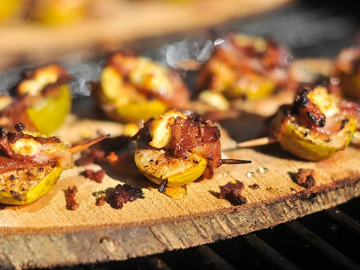 Grilling: Planked Figs with Pancetta and Goat Cheese