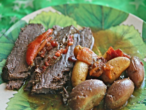 Sunday Supper: Tangy Slow Cooker Brisket With Potatoes and Sweet Peppers