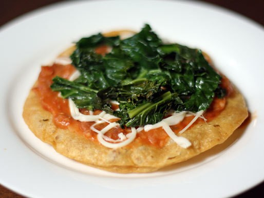 Dinner Tonight: Tostadas with Kale, Refried Beans, and Cheese