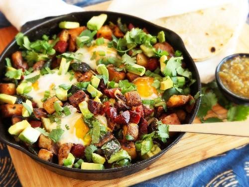 Crispy Potato, Chorizo, and Green Chili Hash With Avocado and Eggs Recipe