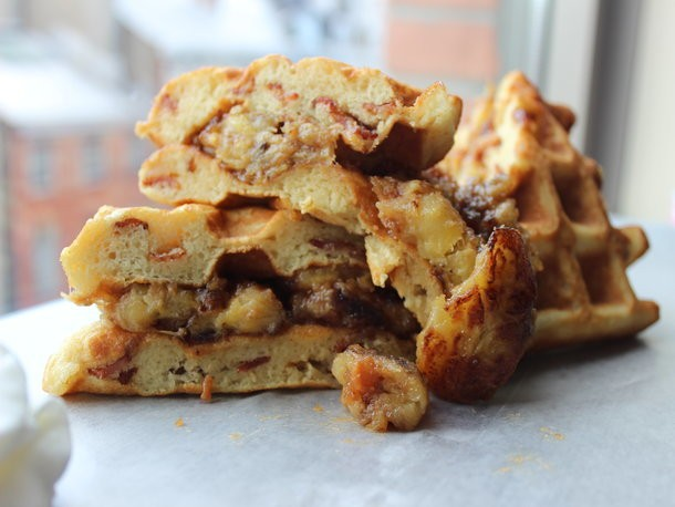 Bacon-Banana Waffle Sandwich with Peanut Butter and Maple Syrup Recipe