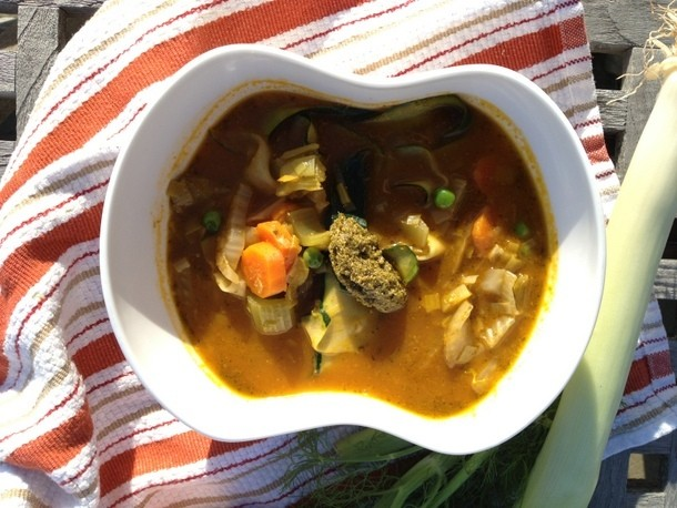 Make-Ahead Spring Vegetable Soup with Pesto