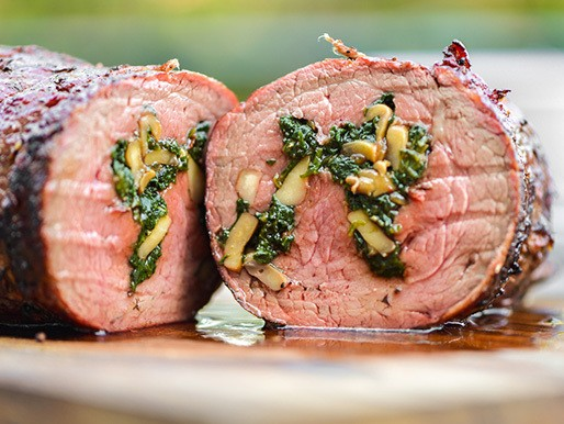 Grilled Spinach- and Mushroom-Stuffed Beef Tenderloin Recipe