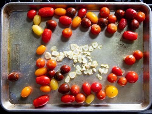 Sheet-Pan Salmon With Tomato-Eggplant Compote Recipe
