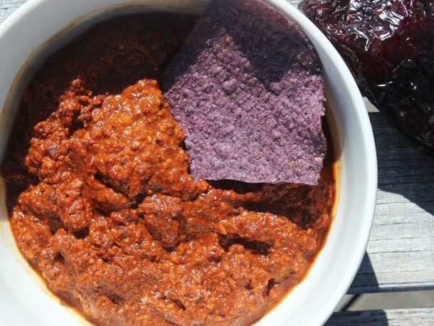 Ancho-Chipotle Salsa With Chocolate and Fried Almonds Recipe