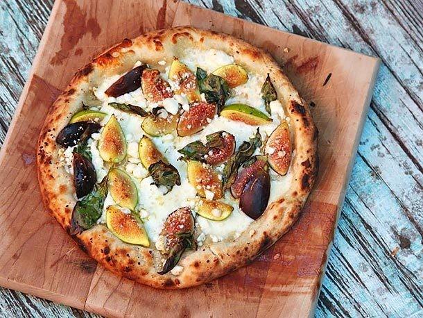 Pizza With Figs, Mozzarella, and Goat's Milk Feta Recipe