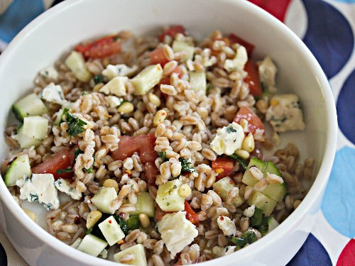 Farro Salad With Blue Cheese, Pine Nuts, and Tomatoes Recipe