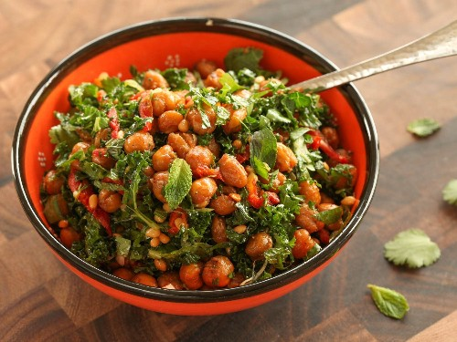 Roasted-Chickpea and Kale Salad With Sun-Dried Tomato Vinaigrette Recipe