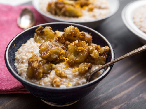 Bananas Foster Oatmeal With Walnuts and Peanut Butter Recipe