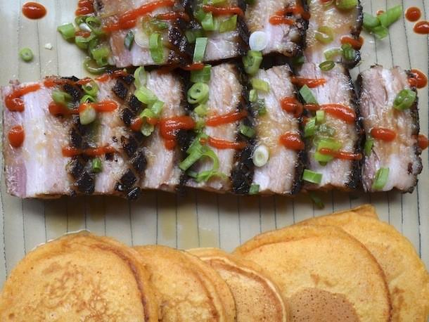 Braised Bacon with Smoked Paprika Pancakes Recipe