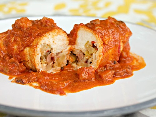Andouille- and Rice-Stuffed Chicken Breasts With Creamy Creole Shrimp Sauce Recipe