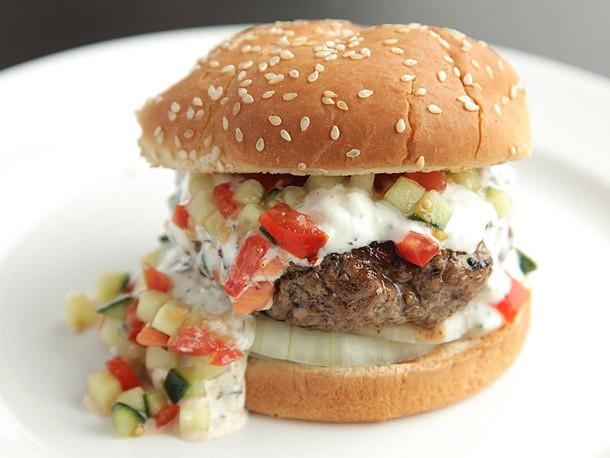Burgers With Creamy Feta Sauce and Tomato-Cucumber Relish Recipe