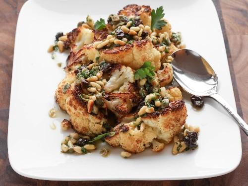 Roasted Cauliflower With Pine Nut, Raisin, and Caper Vinaigrette Recipe