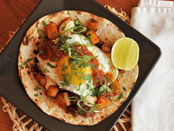 Breakfast Tacos With Crispy Potatoes, Chorizo, and Fried Egg Recipe