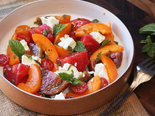 Easiest Summer Ever: Tomato, Apricot, Feta, and Mint Salad