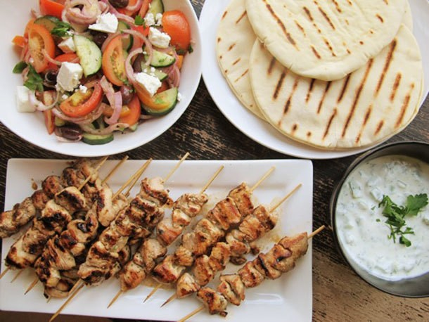 Chicken Souvlaki With Tzatziki Sauce and Greek Salad Recipe