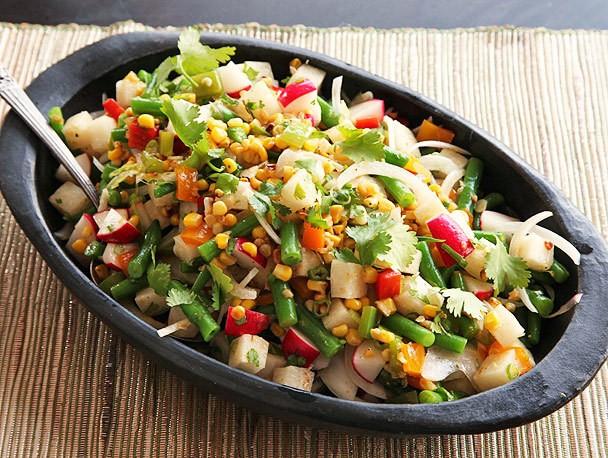 Charred Corn, Radish, Jicama, and Green Bean Salad With Lime Dressing Recipe