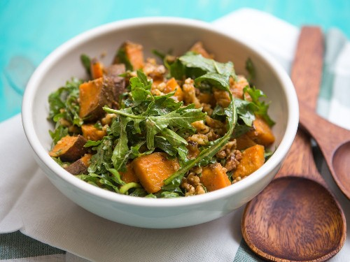 "Arugula, Sweet Potato, and Walnut Salad With Dashi ""Vinaigrette"" Recipe"