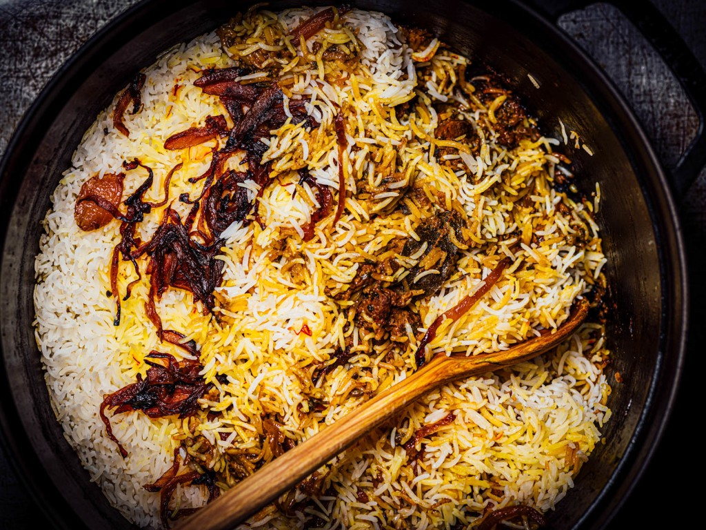 Lamb Biryani With Saffron, Yogurt, and Caramelized Onions Recipe