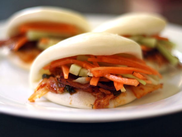 Bacon and Kimchi Steamed Buns with Carrot and Cucumber Slaw Recipe