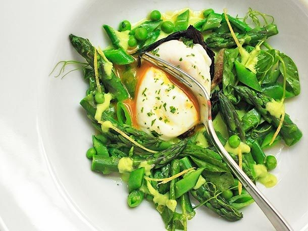 Spring Salad of Asparagus, Ramps, Snap Peas, and Peas With Poached Egg and Lemon Zest Vinaigrette Recipe