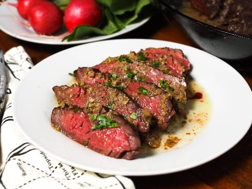 Hanger Steak With Bagna Cauda Pan Sauce Recipe