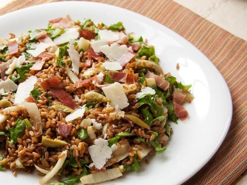 Warm Whole-Grain Salad With Fennel, Arugula, Prosciutto, and Pecorino Recipe