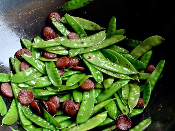 Stir Fried Snow Peas with Chinese Sausage Recipe