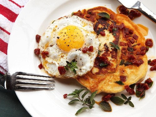 Win at Brunch With These Savory Halloumi and Chorizo Pancakes