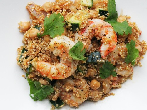 Harissa Quinoa With Shrimp and Chickpeas Recipe