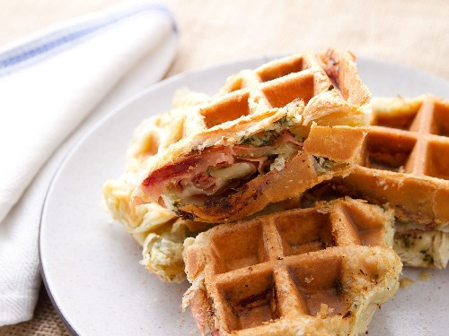 Savory Mortadella, Garlic, and Caper Puff-Pastry Waffle Recipe