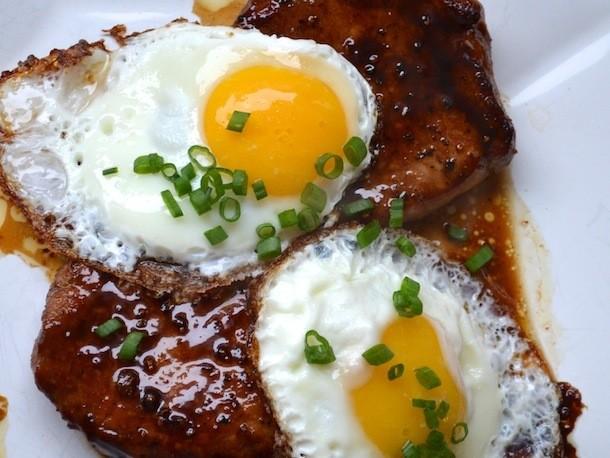 Sunday Brunch: Bourbon Glazed Pork Chops with Fried Eggs