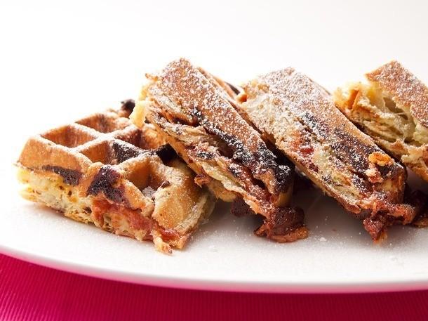 Guava and Cream Cheese and Cinnamon Raisin Puff-Pastry Waffles