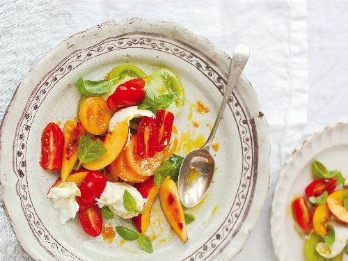 Nectarine, Tomato and Basil Salad With Torn Mozzarella From 'A Change of Appetite'