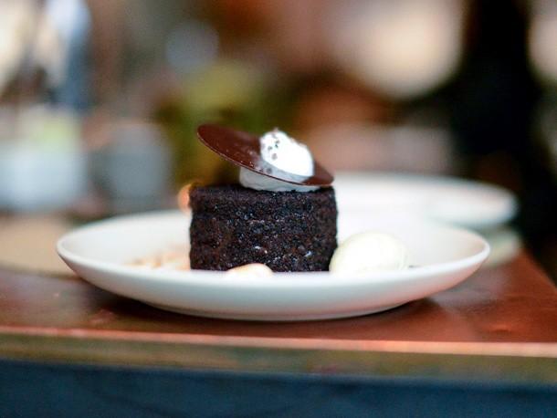 Sugar Rush: Chocolate Cake with Vanilla Bourbon Ice Cream from Print Restaurant