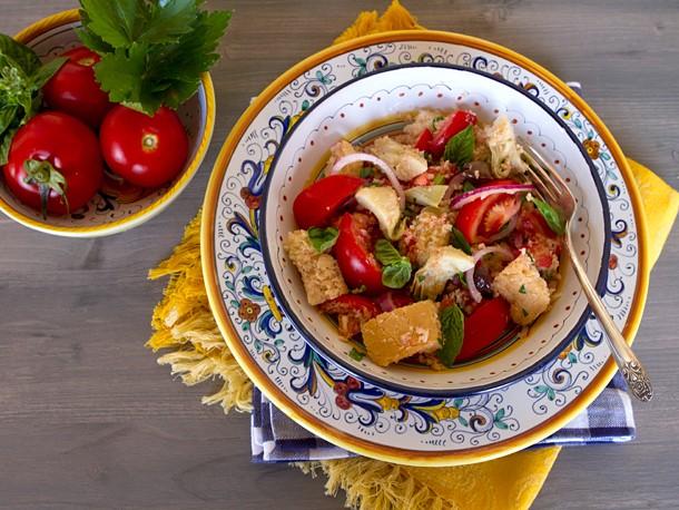 Panzanella With Artichokes, Black Olives, and Capers Recipe