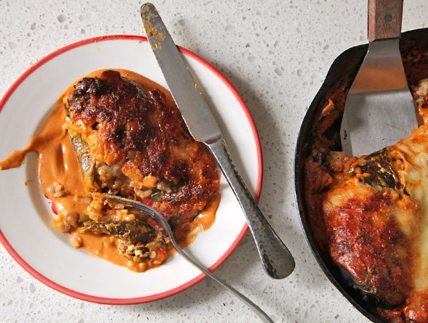 Stuffed Roasted Poblano Peppers With Cashew-Chipotle Sauce Recipe