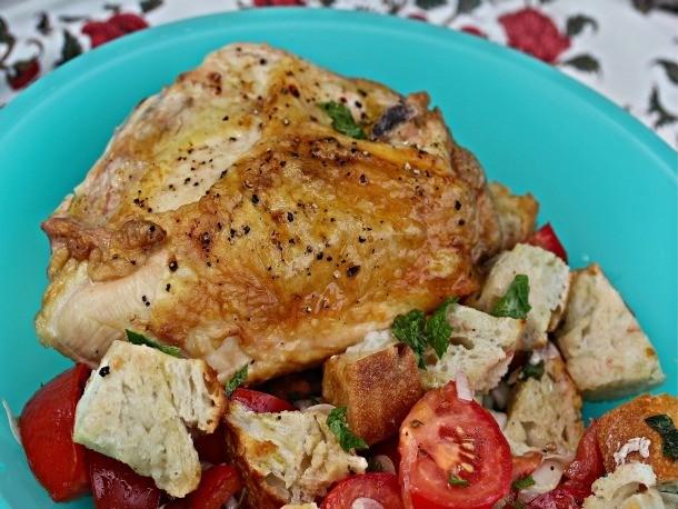 Roasted Chicken With Tomato-Mint Panzanella Recipe
