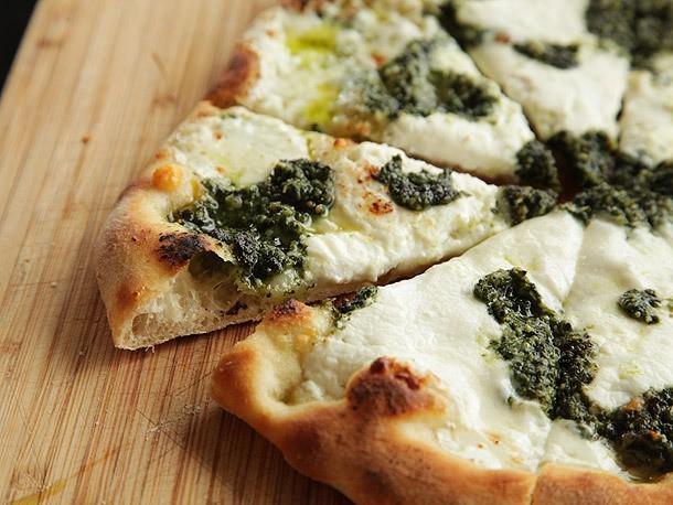 Pizza with Pesto, Ricotta, and Mozzarella Recipe