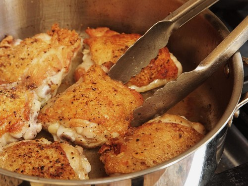 Familiar but Fresh: Crispy Braised Chicken Thighs With Bacon