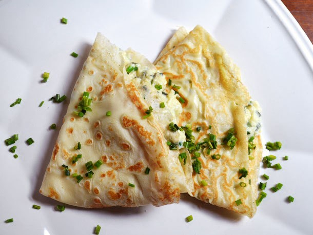 Sunday Brunch: Crêpes with Goat Cheese Scrambled Eggs
