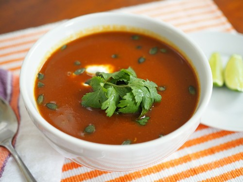Mexican Butternut Squash Soup With Ancho Chili, Crema, and Pepitas Recipe