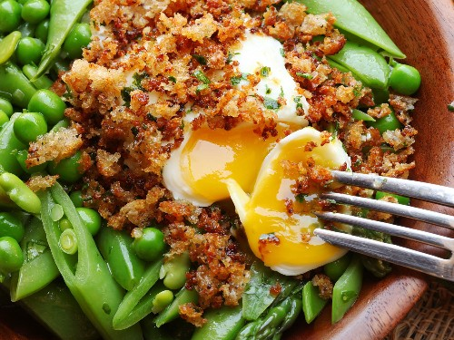 Crispy Poached Eggs Crown This Spring Vegetable Salad