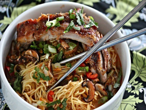 Sunday Supper: Chinese Noodles with Baked Sriracha Ribs