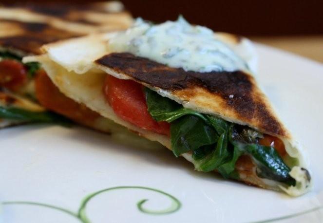 Eat for Eight Bucks: Roasted Tomato Quesadillas with Cilantro Cream Recipe