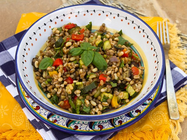 Farro Salad With Lentils, Beans, and Oven-Roasted Vegetables Recipe
