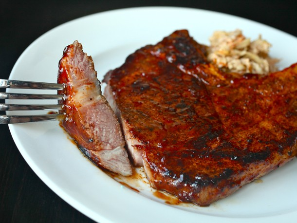 Sous Vide 101: Spicy Rubbed Pork Chops with BBQ Sauce Recipe